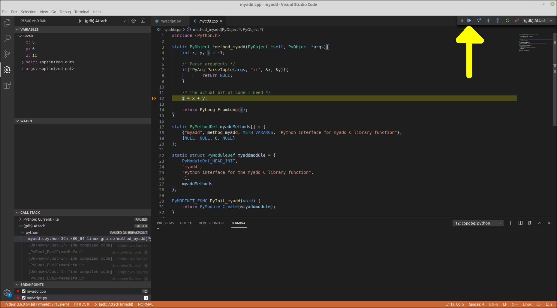 Example debugging mixed Python C++ in VS Code